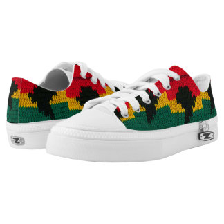 Africa Map Bright African Colors Crochet Low Tops