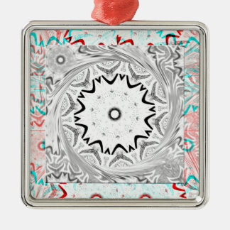 Africa Pink Cyan geometry Silver-Colored Square Decoration