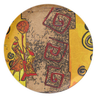 Africa retro vintage style gifts plate