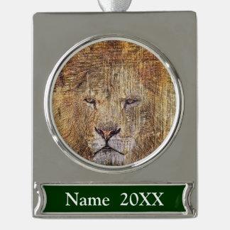 Africa safari animal wildlife majestic lion silver plated banner ornament