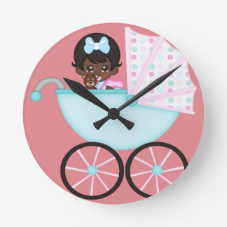African American Baby Girl Pink Carriage Wall Clocks