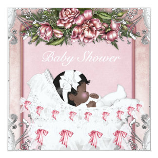 African American Baby Girl Shower Card