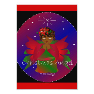 African-American Christmas Angel Baby Girl Praying Personalized Announcement