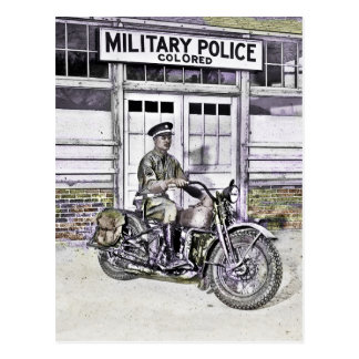African American Military Policeman WWII Postcard