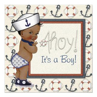 African American Sailor Boy Nautical Baby Shower Card