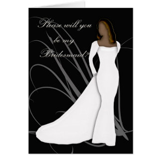 African American Will you be my bridesmaid black a Card