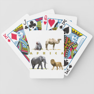african animals lion, elephant, camel, baboon bicycle playing cards