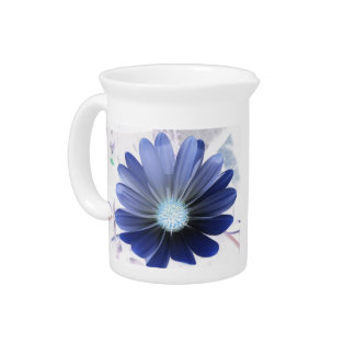 African Daisy Glowing Blue Pitcher