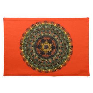 African Dusk Mandala placemat (orange)