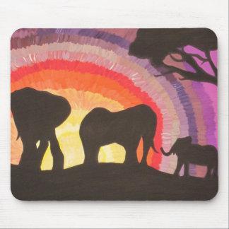 African Elephants Sunset (Kimberly Turnbull Art) Mouse Pad