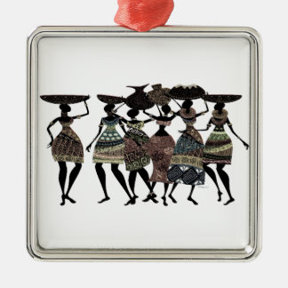 African Feast Silver-Colored Square Decoration