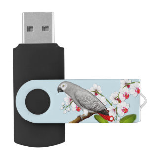 African Gray Parrot in Orchid 32GB USB Flash Drive
