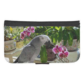 African Grey Parrot with Orchids Samsung S4 Wallet Case