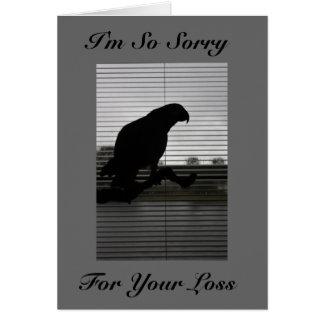 African Grey Silhouette Sympathy Greeting Card
