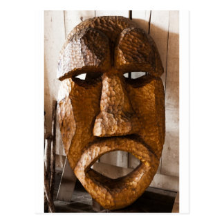 African Hand Carved Mask Post Card