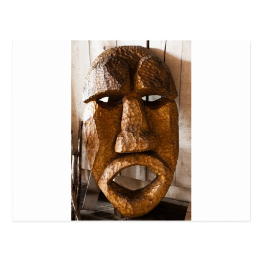 African Hand Carved Mask Postcard