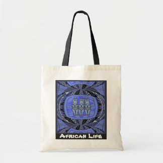 African life _ 3 ladies tribal statue, blue canvas bags