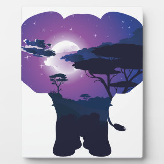 African Night with Elephant 3 Plaque