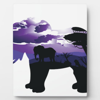 African Night with Elephant Plaque