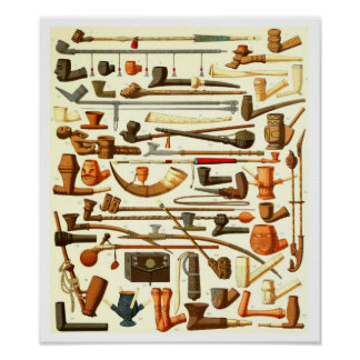 African Pipes and Smoking Implements Print