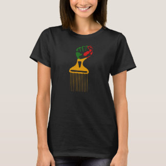African Rasta Black Fist Afro Pick T-Shirt