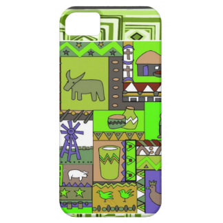 African tribal village, green iPhone 5 case