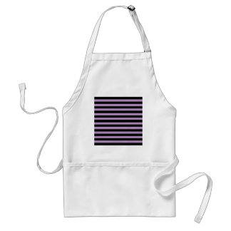 African Violet And Horizontal Black Stripes Aprons