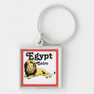 Africankoko Custom Cairo, Egypt Silver-Colored Square Key Ring