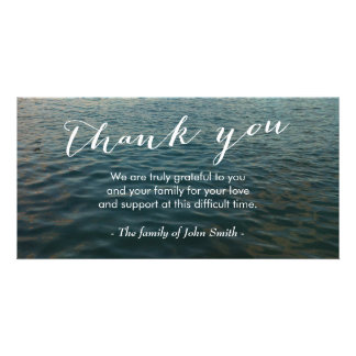 After Funeral Ocean Ripples Memorial Thank You Photo Cards
