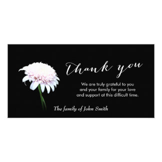 After Funeral White Daisy Memorial Thank You Personalized Photo Card