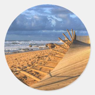 After storm beach... classic round sticker