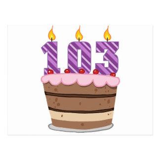 Age 103 on Birthday Cake Postcard