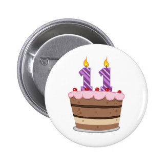 Age 11 on Birthday Cake 6 Cm Round Badge