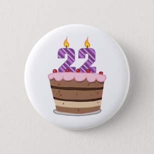 Age 22 On Birthday Cake 6 Cm Round Badge