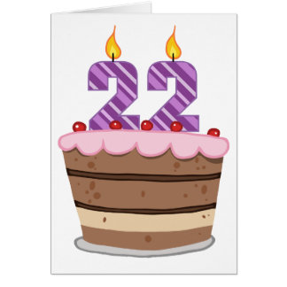 Age 22 on Birthday Cake Greeting Card