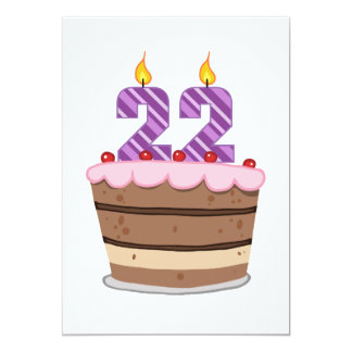 Age 22 on Birthday Cake 5x7 Paper Invitation Card