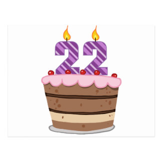 Age 22 on Birthday Cake Postcard