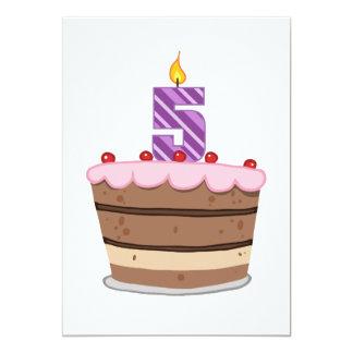 Age 5 on Birthday Cake 13 Cm X 18 Cm Invitation Card