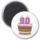 Age 90 on Birthday Cake 6 Cm Round Magnet