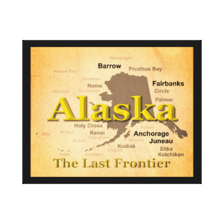 Aged Alaska Map Silhouette Canvas Print