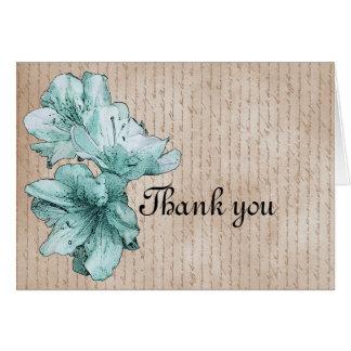 Aged Letter Aqua Illustrated Mint Flower Card