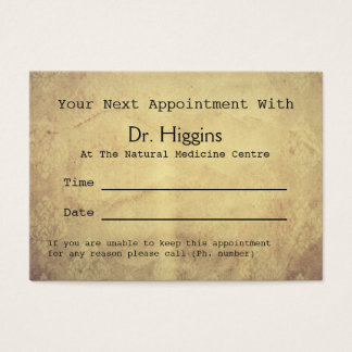 Aged Look Medical Dental etc Appointment Business Card