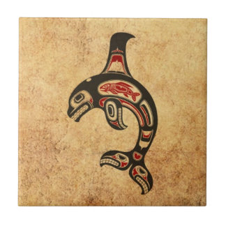 Aged Red and Black Haida Spirit Killer Whale Small Square Tile