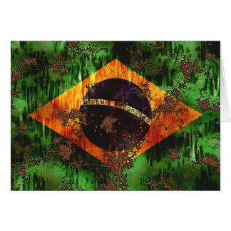 Aged Rusted Brazil Flag Card