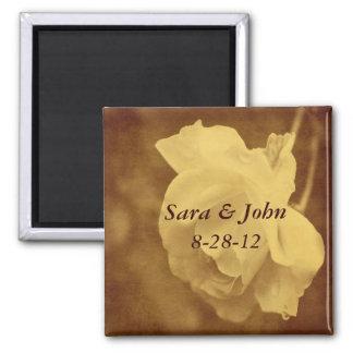 Aged Vintage Rose Floral Wedding Magnet