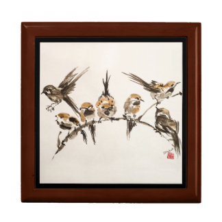 "Aggravated Birds 7.125"" Square w/6"" Tile  Box Large Square Gift Box"