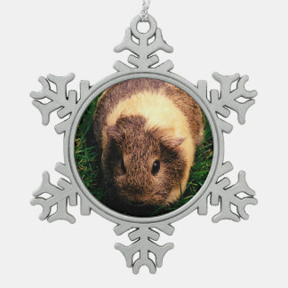 Agouti Guinea Pig in the Grass Pewter Snowflake Decoration