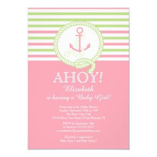 Ahoy! A Girl Nautical Girls Baby Shower Invitation