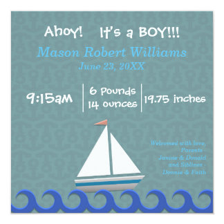 Ahoy, It's a Boy - Birth Announcement