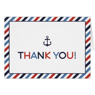 Ahoy It's a Boy Nautical Baby Shower Thank You Greeting Card